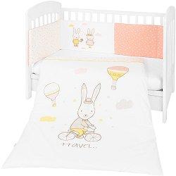 Бебешки спален комплект от 3 части с обиколник - Rabbits In Love EU Style - 100% ранфорс за легла с размери 60 x 120 cm или 70 x 140 cm -