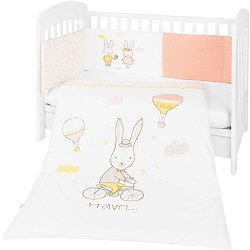 Бебешки спален комплект от 3 части с обиколник - Rabbits In Love EU Style - продукт