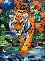 Рисуване по номера с акрилни бои - Тигър - Комплект за картина с размери 22 x 30 cm