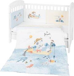 Бебешки спален комплект от 3 части с обиколник - The Fish Panda EU Style - 100% ранфорс за легла с размери 60 x 120 cm или 70 x 140 cm -