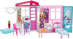 Куклена къща с обзавеждане - Барби - Детски комплект за игра с аксесоари -