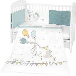 Бебешки спален комплект от 3 части с обиколник - Elephant Time EU Style - 100% ранфорс за легла с размери 60 x 120 cm или 70 x 140 cm -