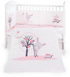 Бебешки спален комплект от 3 части с обиколник - Pink Bunny EU Style - 100% ранфорс за леглo с размери 70 x 140 cm -
