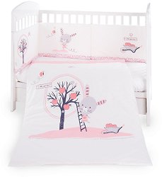 Бебешки спален комплект от 3 части с обиколник - Pink Bunny EU Style -