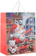 Матова подаръчна торбичка - Дядо Коледа - С размери 26 / 33 / 14 cm -