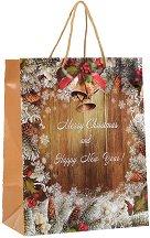 Гланцирана подаръчна торбичка - Весела Коледа - С размери 26 / 33 / 14 cm -