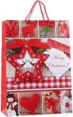 Гланцирана подаръчна торбички - Весела Коледа - С размери 33 / 46 / 14 cm -