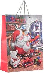 Матова подаръчна торбичка - Дядо Коледа - С размери 33 / 46 / 14 cm -