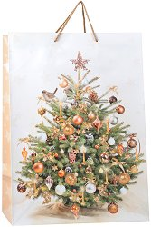 Гланцирана подаръчна торбичка - Весела Коледа - С размери 40.5 / 50 / 25 cm -
