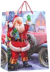 Гланцирана подаръчна торбичка - Дядо Коледа - С размери 40.5 / 50 / 25 cm -