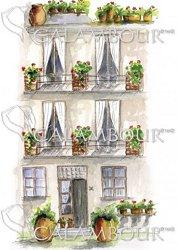 Декупажна хартия - Къща на три етажа 006 - Размери 30 x 50 cm