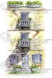 Декупажна хартия - Къща на три етажа 008 - Размери 30 x 50 cm