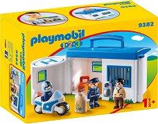 """Преносим полицейско управление - Детски конструктор от серията """"Playmobil: 1.2.3"""" - играчка"""