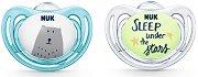 Залъгалки от силикон с ортодонтична форма - Hello Adventure - Комплект от 2 броя с кутия за съхранение за бебета от 0+ до 6 месеца -