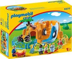"""Зоологическа градина - Детски конструктор от серията """"Playmobil: 1.2.3"""" - играчка"""