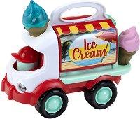 Камион за сладолед със светлинни и звукови ефекти - Детска играчка с аксесоари -
