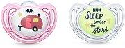 Залъгалки от силикон с ортодонтична форма - Hello Adventure - Комплект от 2 броя с кутия за съхранение за бебета от 6 до 18 месеца -