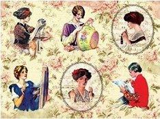 Декупажна хартия - Жени и рози - Формат A3