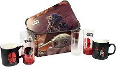 """Кутия за съхранение - Baby Yoda - В комплект с 4 чаши от серията """"Star Wars:The Mandalorian"""" - четка"""