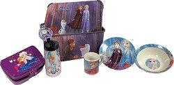 Кутия за съхранение - Замръзналото кралство - В комплект с шише, съдове и прибори за хранене -