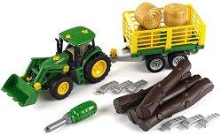 Трактор с ремарке и аксесоари - John Deere - Детски комплект за игра -