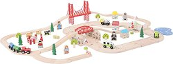 Градска железопътна линия - Детски дървен комплект за игра с аксесоари -
