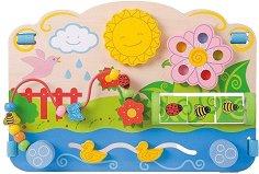Активен център - Цветя - Детска дървена образователна играчка -