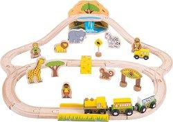"""Влакова композоция - Сафари - Детски дървен комплект за игра с аксесоари от серията """"Rails"""" -"""