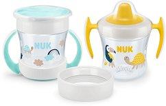 Неразливащи се чаши 3 в 1 - Mini Cups 160 ml - Комплект от 2 броя и 3 броя накрайници за бебета над 6 месеца -