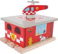 """Пожарна станция - Дървена играчка с хеликоптер за влакова композиция от серията """"Rails"""" -"""