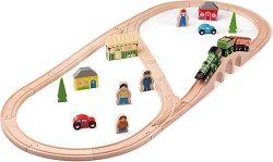 """Влакова композиция - Летящият шотландец - Детски дървен комплект за игра с аксесоари от серията """"Rails"""" -"""