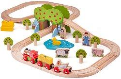 """Влакова композиция - Ферма - Детски дървен комплект за игра с аксесоари от серията """"Rails"""" -"""