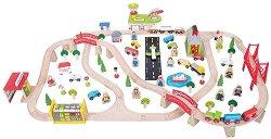 """Транспортна железопътна линия - Дървен комплект за игра с аксесоари от серията """"Rails"""" -"""