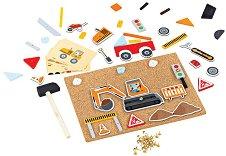 Строителна площадка - Детски комплект за игра с коркова дъска и аксесоари -