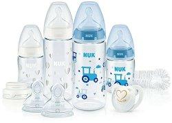 Комплект за новородено - First Choice: Temperature Control - С шишета, биберони, залъгалка и четка за почистване на шишета -