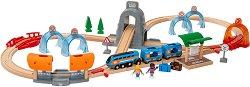 """Влакова композиция - Дървен комплект за игра с аксесоари от серията """"Brio - Rails"""" -"""