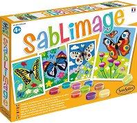 Рисуване с цветен пясък - Пеперуди - Творчески комплект -
