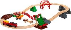 """Влакова композиция - Ферма - Дървен комплект за игра с аксесоари от серията """"Brio - Rails"""" -"""