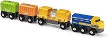 """Товарен влак с 3 вагона - Детски комплект за игра от серията """"Brio: Влакчета"""" -"""