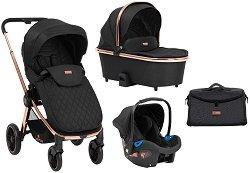 Бебешка количка 3 в 1 - Vicenza Premium: Black - С 4 колела -