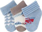 Бебешки хавлиени чорапи - Комплект от 3 чифта за бебета от 0+ до 4 месеца -