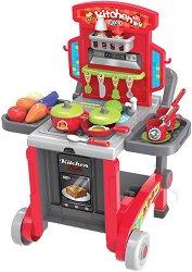 Детска кухня на колела - Детски комплект с аксесоари за игра в куфар -