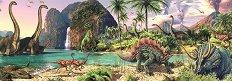 Динозаври край езерото - панорама - пъзел