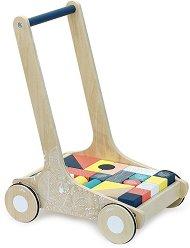 """Дървена количка с кубчета - Детска играчка за бутане от серията """"Sous la Canopée"""" -"""