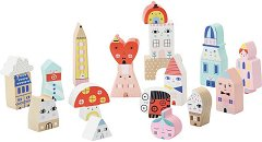 Град - Комплект от 20 дървени фигури за игра -