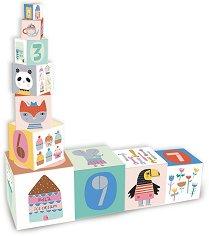 Кула от кубчета - Животни и числа - Дървен образователен комплект за игра -
