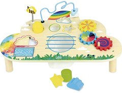 Активна маса - Облак и дъга - Детска дървена образователна играчка -