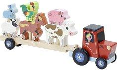 Низанка - Веселата ферма - Дървена играчка за нанизване -