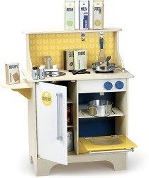 Дървена кухня с аксесоари - Детски комплект за игра -