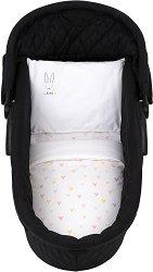 Ватиран спален комплект за бебешка количка от 6 части - Rabbits in Love - продукт